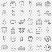 Sweet Stuff Icons Set. Outline Style Of 36 Sweet Stuff Icons For Web For Any Design poster