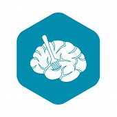Fork Is Inserted Into The Brain Icon. Simple Illustration Of Fork Is Inserted Into The Brain Icon Fo poster