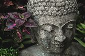 Stone Buddha Face Close-up. Handmade Carved Buddha Statue In Balinese Garden As Decoration. poster