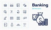 Banking Line Icon Set. Cash, Currency Rate, Savings. Finance Concept. Can Be Used For Topics Like Mo poster