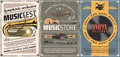 Musical Instruments And Vinyl Records Retro Posters Of Music Store Or Live Concert Design. Vector Gu poster