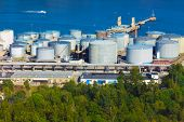 stock photo of biodiesel  - Panorama of the fuel storage area in Stockholm - JPG