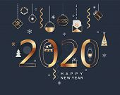 2020 New Year Banner With Gold Holiday Elements On Dark Background. Modern Design Card, Poster With  poster