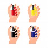 Girl Holds Bottle Of Varnish In Her Hand. Female Hands With Nail Polish. Coat Your Fingernails With  poster