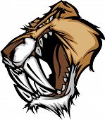 image of cougar  - Graphic Vector Mascot Image of a Saber Cat Cougar Head - JPG
