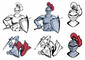 Knight Warriors In Different Poses. Warrior With A Traditional Weapon. Knight Warrior In Combat Helm poster