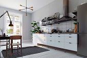 modern scandinavian style kitchen interior. 3d rendering design poster