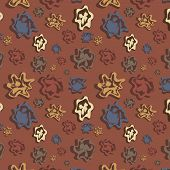Brown Background With Varicoloured Figures