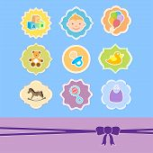 set baby toys icon in frame