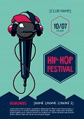 Hip-hop Party Poster With Microphone. Rap Festival Invitation. Vector Template. poster