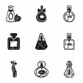 Glamour Perfume Icon Set. Simple Set Of 9 Glamour Perfume Vector Icons For Web Design Isolated On Wh poster