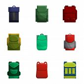 School Backpack Icon Set. Cartoon Set Of 9 School Backpack Vector Icons For Web Design Isolated On W poster
