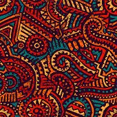 Seamless African Pattern. Ethnic And Tribal Motifs. Orange, Red, Yellow, Blue And Black Colors. Grun poster