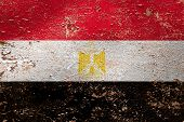 National Flag Of Egypt  On Old Peeling Wall Background.the Concept Of National Pride And Symbol Of T poster