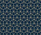 The Geometric Pattern With Lines. Seamless Background. Gold And Dark Blue Texture. Graphic Modern Pa poster