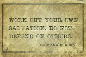 Work Out Your Own Salvation. Do Not Depend On Others - Famous Quote Of Gautama Buddha Printed On Gru poster