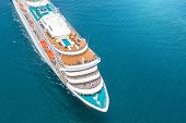 Nose Of The Cruise Ship In The Turquoise Sea. Concept Of Summer Sea Cruise Tours poster