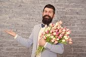 Things That Make Man Gentleman. Romantic Man With Flowers. Romantic Gift. Macho Getting Ready Romant poster