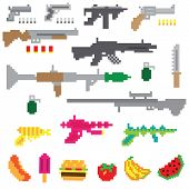 stock photo of mp5  - A vector of retro game pixelated guns and upgrades - JPG
