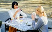 Girls Friends Drink Coffee And Talk. True Friendship Friendly Close Relations. Conversation Of Two W poster