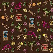 Tiki Hawaii seamless pattern