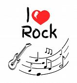 Love Rock Music Style Poster With Notes Monochrome Sketches Vector. Heart And Guitar Music Instrumen poster