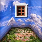Fantasy room scenery with clouds, town and window