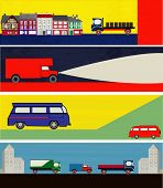 image of campervan  - A set of Retro Auto Delivery Web Banners - JPG