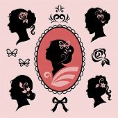 stock photo of cameos  - woman profile silhouettes with floral elements set - JPG