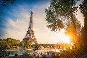 Sunset View Of Eiffel Tower And Seine River In Paris, France. Architecture And Landmarks Of Paris. P poster