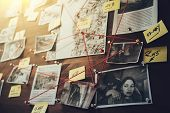 Detective Board With Photos Of Suspected Criminals, Crime Scenes And Evidence With Red Threads, Sele poster