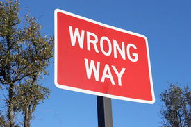 stock photo of warning-signs  - wrong way sign - JPG