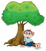 Illustration of a monkey sitting under a tree on a white background