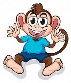 Illustration of a happy monkey on a white background