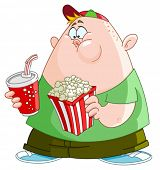 stock photo of obese children  - Fat kid with popcorn and soda - JPG