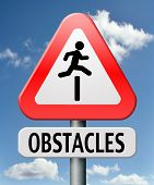 stock photo of overcoming obstacles  - obstacle ahead caution for danger take the challenge avoid and overcome the problem prepare for difficult and avoiding hard times jump the hurdles or obstacles - JPG
