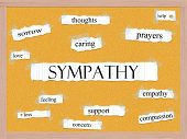 stock photo of sympathy  - Sympathy Corkboard Word Concept with great terms such as sorrow thoughts caring and more - JPG
