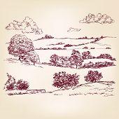 Landscape sketch drawing