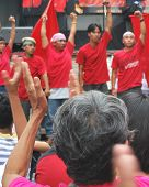 Applause To Red Youth Street Performers