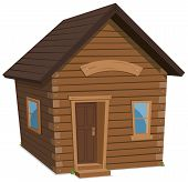 stock photo of shacks  - Illustration of a simple cartoon spring or winter wooden little forest lodge shack house hut or cabin - JPG