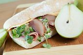 Ham and poached pear sandwich