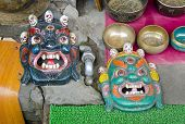 Tibetan Buddhist Masks In Dharamsala, India