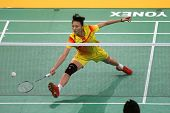 KUALA LUMPUR - JANUARY 15: China's Yao Xue retrieves the shuttlecock during her qualifying match at