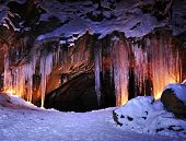 picture of stalagmite  - Entrance to ice cave with plenty of icicles - JPG