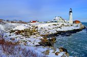 picture of off-shore  - Famous Portland headlight lighthouse off the coast of Maine - JPG