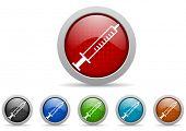 bunte Web Icons set auf weißem Hintergrund