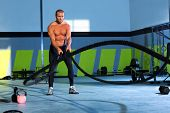 picture of battle  - battling ropes at gym workout fitness exercise - JPG