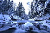 Winter mountain river- Beskid Mountains, Poland