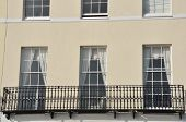 Close up of English town house with Iron Balcony