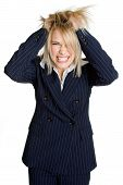 foto of pulling hair  - Pretty blonde businesswoman tearing her hair out - JPG